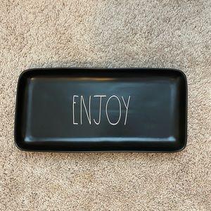 Rae Dunn black ENJOY platter, new out of the box